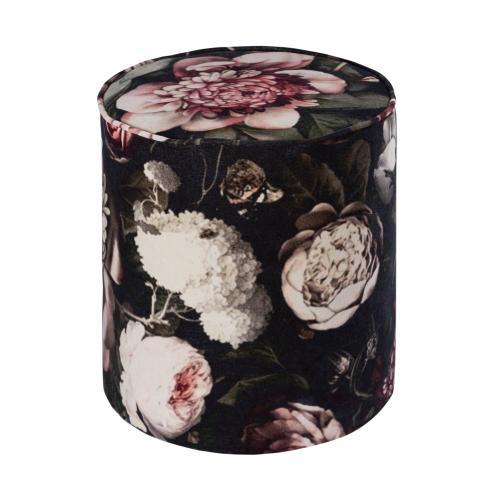 Moody Floral Velvet Pouf