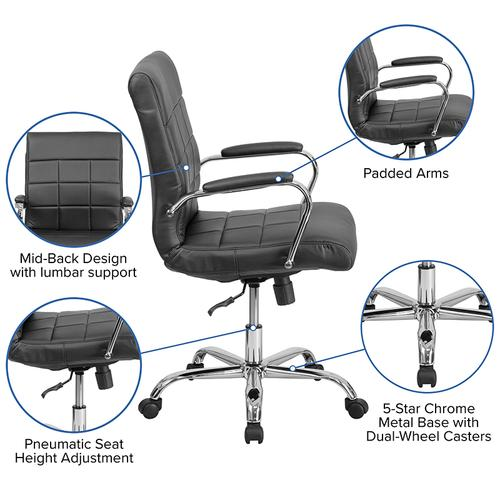 Gallery - Mid-Back Black Vinyl Executive Swivel Office Chair with Chrome Base and Arms