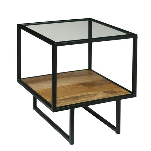 Iron End Table with Glass Top and Wooden Shelf