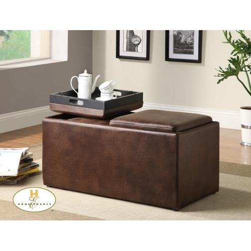 Mazin Furniture - Rectangular Storage Ottoman with 2 Stools and 2 Trays, Brown polished Microfibre