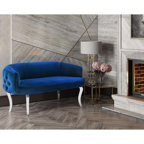 Tov Furniture - Adina Navy Velvet Loveseat with Silver Legs