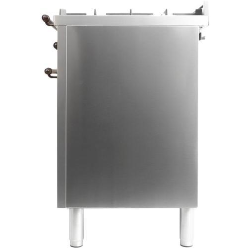 Nostalgie 48 Inch Dual Fuel Liquid Propane Freestanding Range in Stainless Steel with Bronze Trim