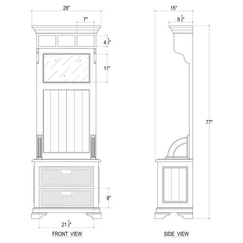 Homestead Narrow Hallstand w/ Rattan Baskets - BHD