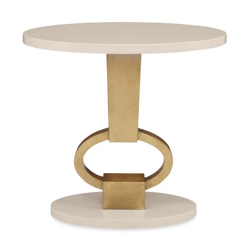 Vision Accent Table - Linen / Gold Leaf
