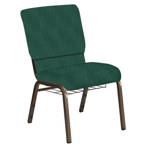 Flash Furniture - 18.5''W Church Chair in Interweave Emerald Fabric with Book Rack - Gold Vein Frame