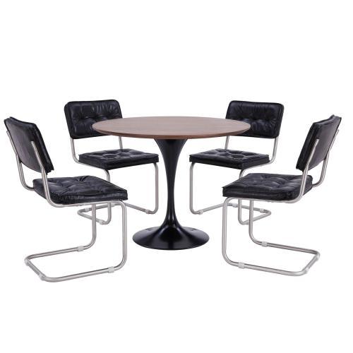 "Product Image - Allie 39"" Round Dining Table Black Leg, Dark Walnut"