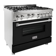 """See Details - ZLINE 36"""" Professional 4.6 cu. ft. 6 Gas on Gas Range in Stainless Steel with Color Door Options (RG36) [Color: Black Matte]"""