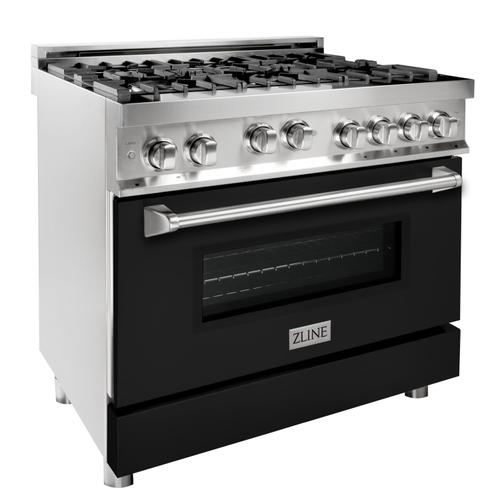 """Zline Kitchen and Bath - ZLINE 36"""" Professional 4.6 cu. ft. 6 Gas on Gas Range in Stainless Steel with Color Door Options (RG36) [Color: Stainless Steel with Brass Burners]"""