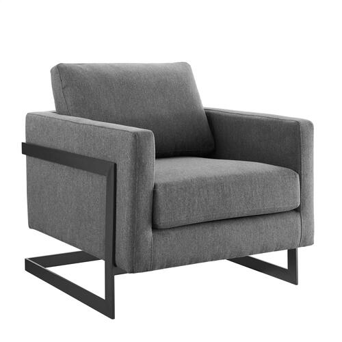 Posse Upholstered Fabric Accent Chair in Black Charcoal
