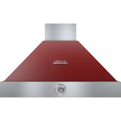 Hood DECO 36'' Red matte, Chrome 1 power blower, analog control, baffle filters