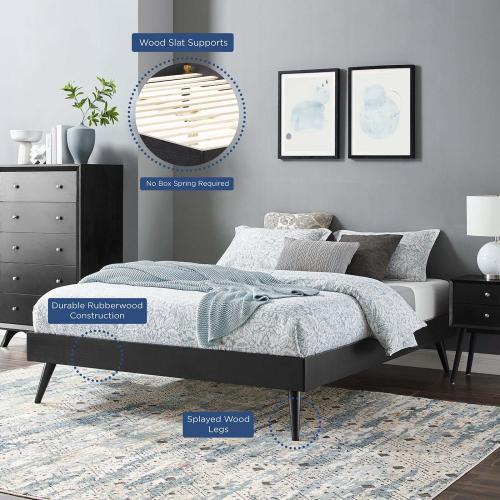 Margo Full Wood Platform Bed Frame in Black