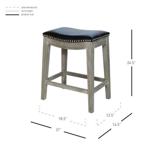 Product Image - Elmo Bonded Leather Counter Stool Mystique Gray Frame, Black