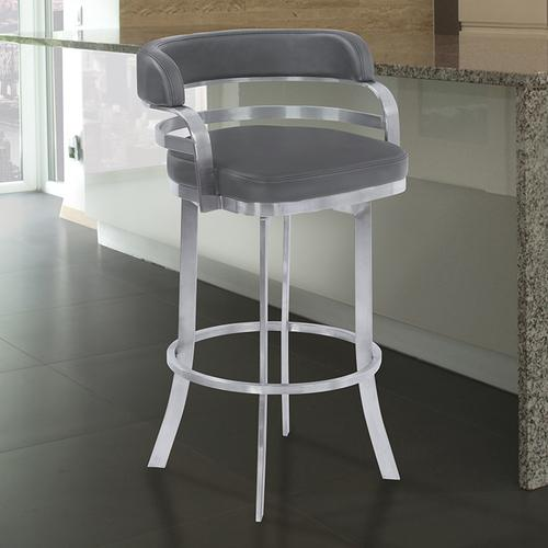 """Armen Living - Armen Living Prinz 30"""" Bar Height Metal Swivel Barstool in Gray Faux Leather with Brushed Stainless Steel Finish"""
