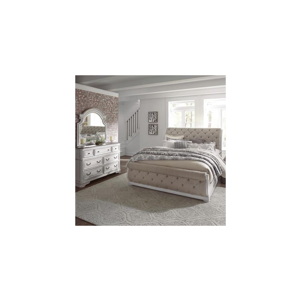 See Details - King Uph Sleigh Bed, Dresser & Mirror