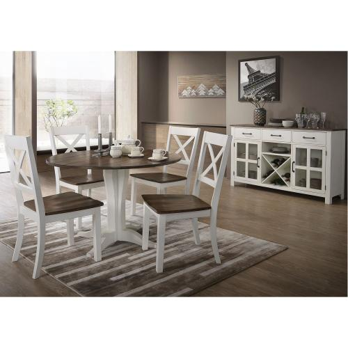 5057 A La Carte White 5-Piece Round Dining Set