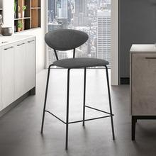 "Neo 26"" Modern with Metal and Gray Faux Leather Counter Height Bar Stool"