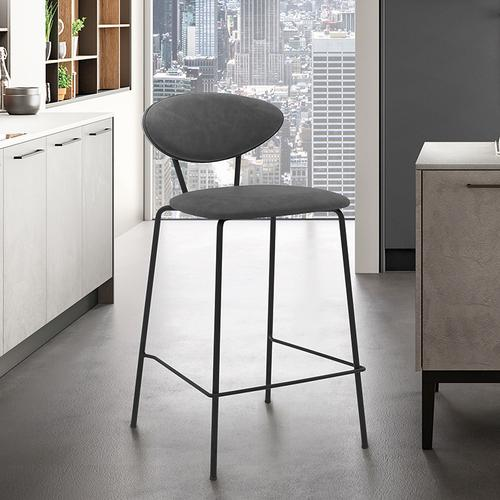 """Armen Living - Neo 26"""" Modern with Metal and Gray Faux Leather Counter Height Bar Stool"""