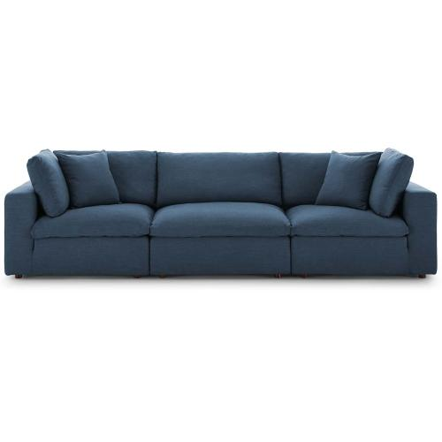 Commix Down Filled Overstuffed 3 Piece Sectional Sofa Set in Azure