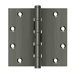 "5"" x 5"" Square Hinges, Ball Bearings - Antique Nickel"