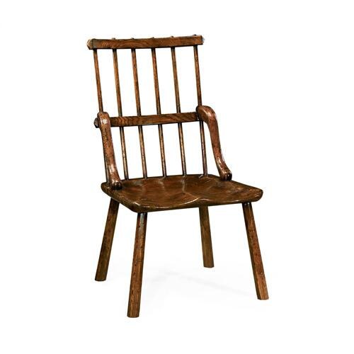 Rustic dark oak country chair plank seat (Side)