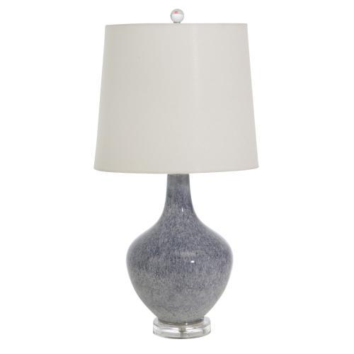 """Glass 28"""" Teardrop Table Lamp, Blue"""