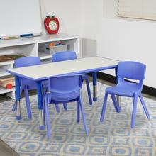 See Details - 23.625''W x 47.25''L Rectangular Blue Plastic Height Adjustable Activity Table Set with 4 Chairs