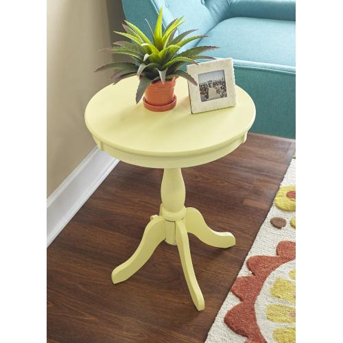 Round Top and Pedestal Base Table, Buttercup Yellow