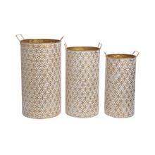 Modern Brass Bins, Set of 3