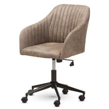 See Details - Baxton Studio Maida Mid-Century Modern Light Brown Fabric Upholstered Office Chair