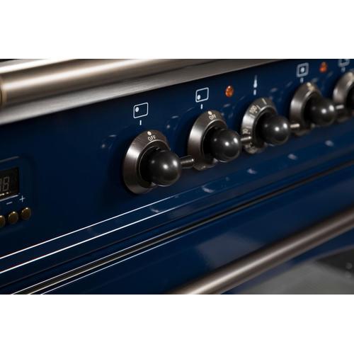 Nostalgie 36 Inch Dual Fuel Natural Gas Freestanding Range in Blue with Bronze Trim