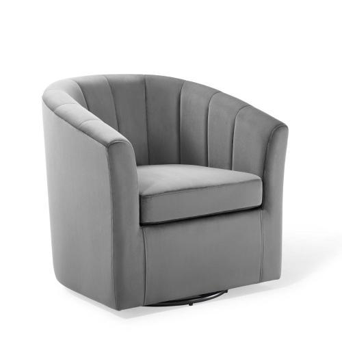 Prospect Performance Velvet Swivel Armchair in Light Gray