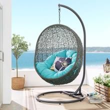 Hide Outdoor Patio Swing Chair With Stand in Gray Turquoise