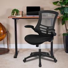 """See Details - 48""""W x 24""""D Mahogany Electric Height Adjustable Standing Desk with Black Mesh Swivel Ergonomic Task Office Chair"""