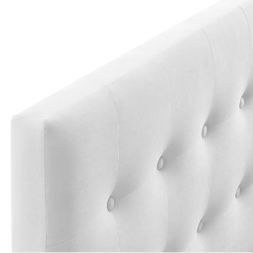 Emily Queen Biscuit Tufted Performance Velvet Headboard in White