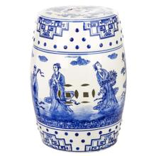 Ocean Jewel Chinoiserie Garden Stool - Blue