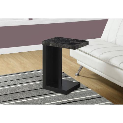 ACCENT TABLE - BLACK / GREY MARBLE-LOOK TOP