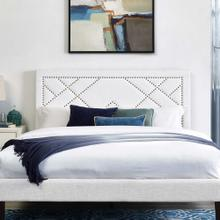 Reese Nailhead Full / Queen Upholstered Linen Fabric Headboard in White
