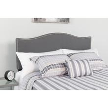See Details - Lexington Upholstered Queen Size Headboard with Accent Nail Trim in Dark Gray Fabric