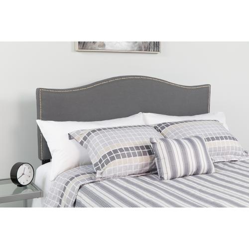 Flash Furniture - Lexington Upholstered Queen Size Headboard with Accent Nail Trim in Dark Gray Fabric