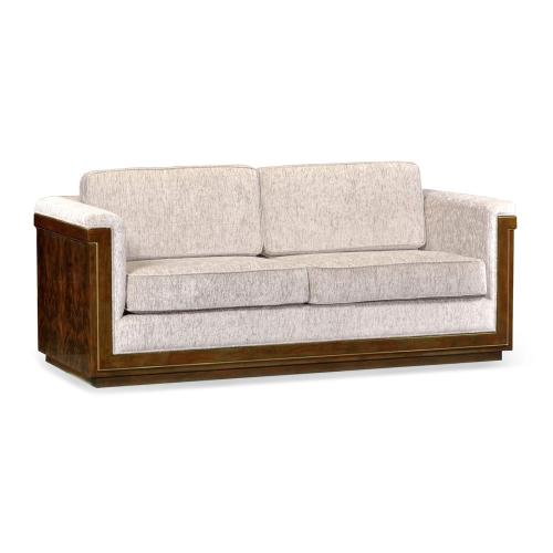 86'' Antique Mahogany Brown High Lustre Sofa, Upholstered in COM