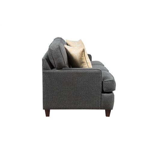 """Capris Furniture - 3 over 3 Convo-Lux seat cushion Sofa w/ 2-1/2"""" Pyramid legs available in Caramel, Black Cherry, Frost, Driftwood or Walnut finish."""