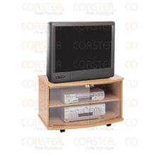STAND/TV W/GLS DOORS/ON CASTERS WOOD OAK/F