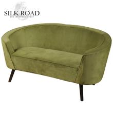 Silk Road Branded  1930's Shelter Arm French Parlor Settee Covered in a Lime Green Velvet with Sel