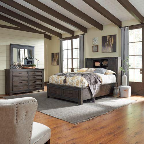 Liberty Furniture Industries - Queen Bookcase Bed, Dresser & Mirror