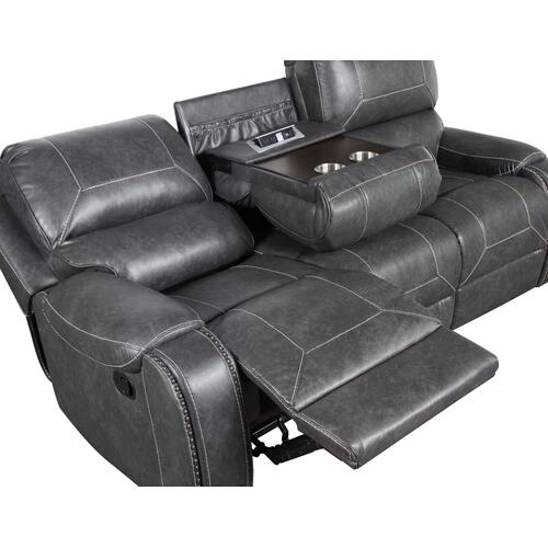 Keily Manual Glider Reclining Sofa w/Dropdown Table, Grey