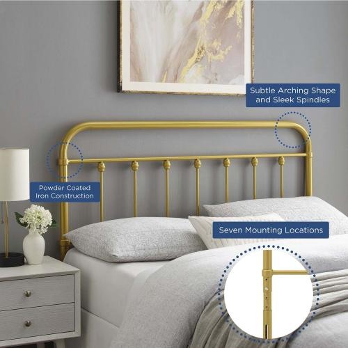 Sage Twin Metal Headboard in Gold