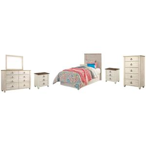 Twin Panel Headboard With Mirrored Dresser, Chest and 2 Nightstands