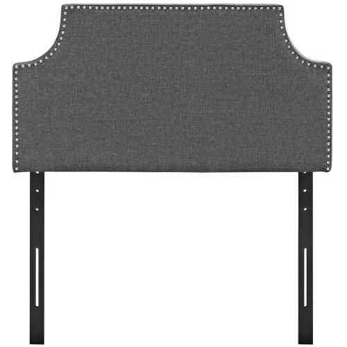 Laura Twin Upholstered Fabric Headboard in Gray