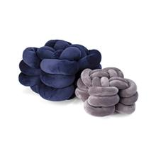 Gila Navy and Grey Velvet Knot Pillows - Set of 2