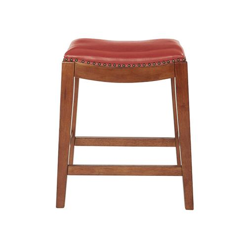 """Metro 24"""" Saddle Stool With Nail Head Accents and Espresso Finish Legs With Cranberry Bonded Leather"""